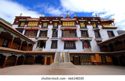 Inside Drepung Monastery, the largest of all Tibetan monasteries located on the Gambo Utse mountain, five kilometers from the western suburb of Lhasa