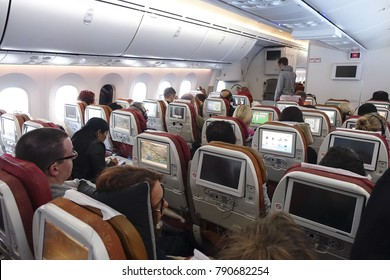 Inside the economy class of Air India Boeing 787-8 Dreamliner in a long haul trip from Europe to Delhi. New Delhi, India - 2 October 2016