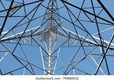 Inside an electricity pylon looking up towards the sky