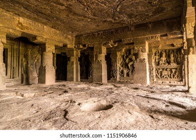 Inside of Ellora caves. Interior of Indra Sabha temple at Ellora Caves. UNESCO archaeological site in India.