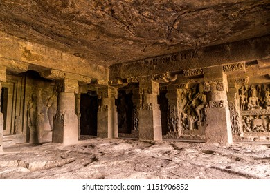 Inside of Ellora caves. Interior of Indra Sabha temple at Ellora Caves. UNESCO archaeological site in India