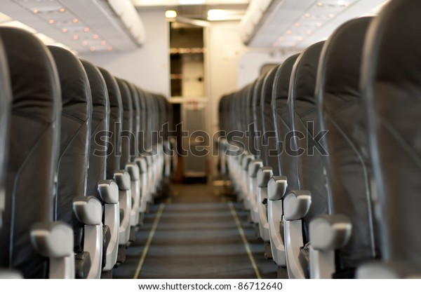 Inside an empty plane. Horizontal image