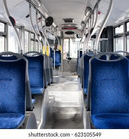 Inside  of empty public bus