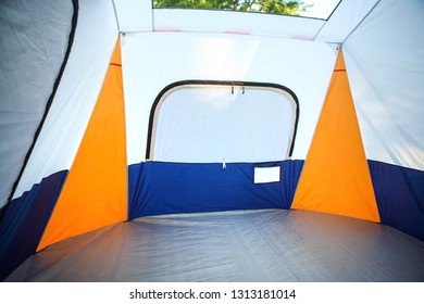 Inside an empty tent