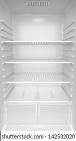 Inside of an empty white fridge