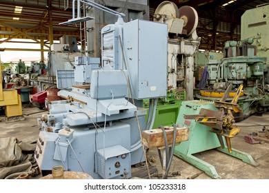 inside factory, indoor factory machine unit working