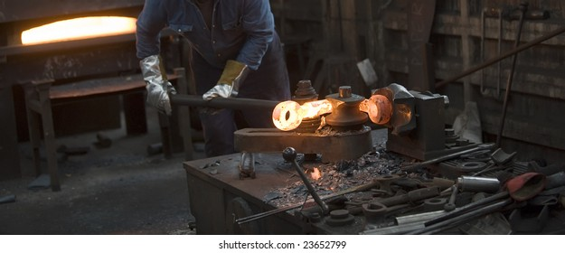 Inside a factory making manufactured goods with steel.