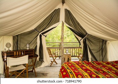 The inside of a glamping tent.
