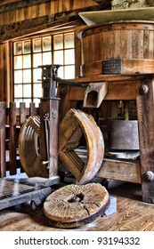 inside grist mill grinding wheel