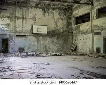 Inside the gymnasium of the abandoned Pripyat Elementary School No. 3 in Pripyat city, Chernobyl Exclusion Zone, Ukraine