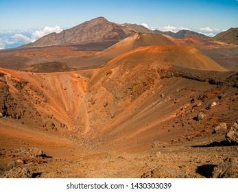 Inside  Haleakala's volcanic crater in Maui, Hawaii, United States.