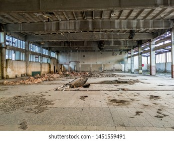 Inside the hall of the abandoned factory