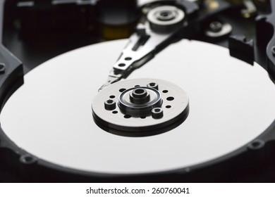 Inside Hard disk Closeup shot