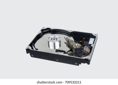 inside hard disk drive with head reader on isolated with clipping path