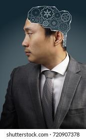 inside head businessman driven by brain gears, idea of business concept