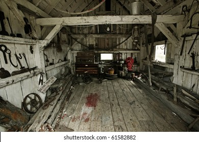 inside of a heritage tool shed