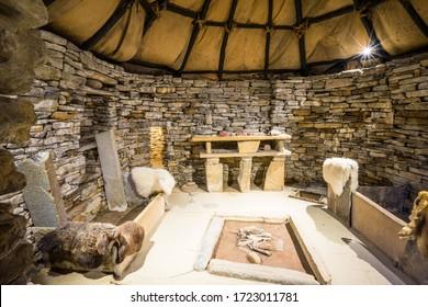 inside a historic building at Skara Brae; Orkney Islands; UK