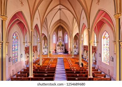 Inside the Holy Cross Church in the Volga German Village of Pfeifer, Kansas