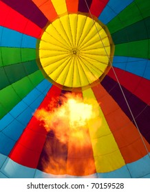 inside Hot air balloon with burning flame