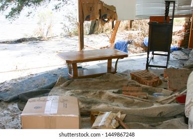 Inside house destroyed by Hurricane Katrina. Taken near Biloxi, MS on September 9, 2005.