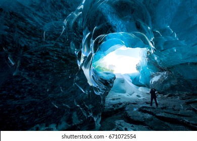 Inside an icecave in Vatnajokull, Iceland, the ice is thousands of years old and so packed it is harder than steel and crystal clear.
