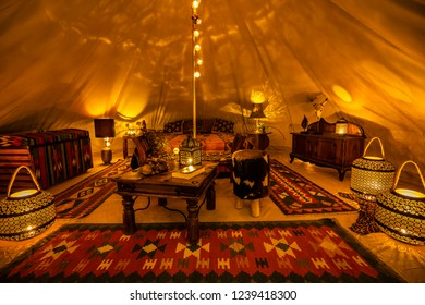 Inside Indian glamping tent
