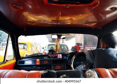 Inside indian taxi