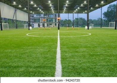 Inside of indoor football field
