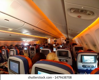 Inside interior Aeroflot Russian Airlines Boeing 777-300ER economy cabin during a transatlantic flight from New York to Moscow. Manhattan, New York, June 29, 2019.