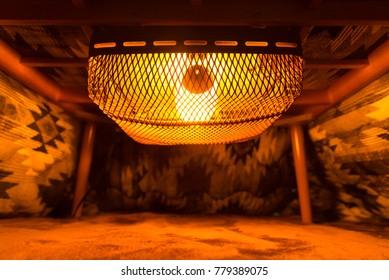 inside of japanese kotatsu table heater