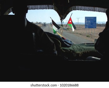 Inside a Jordanian Bus on the road to Wadi Rum