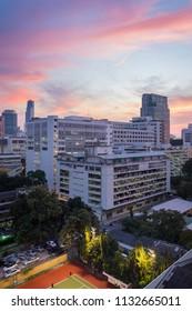 Inside King Chulalongkorn Memorial Hospital and skyscrapers in Pathum wan district and beautiful twilight sky view taken from Pridalai Dormitory, Bangkok, Thailand, November 22th 2016