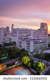 Inside King Chulalongkorn Memorial Hospital and skyscrapers in Pathum wan district and beautiful twilight sky view taken from Pridalai Dormitory, Bangkok, Thailand, September 21th 2015