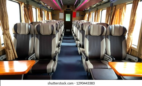 Inside the long distance seating cabin of a train from Ho Chi Minh to Mui Ne