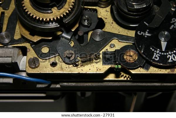 inside look of an older SLR camera