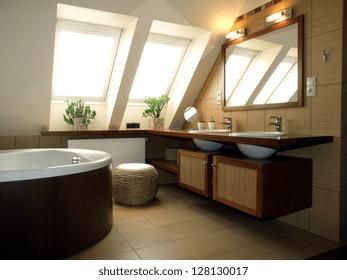 Inside of luxurious bathroom in modern house