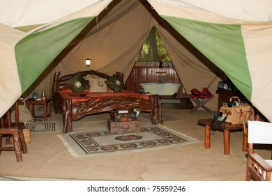 Inside of a luxury safari tent at Governor's Camp in the Masai Mara