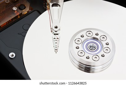 Inside a Magnetic Hard Drive close up