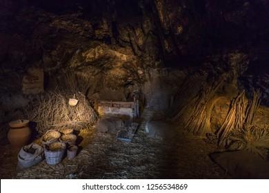 Inside Mangiapane Cave (Grotta Mangiapane), an ancient settlement inhabited since the Upper Paleolithic, Custonaci, Sicily, Italy