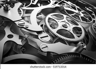 Inside mechanism, clockwork with working gears. Close-up, detailed. 3D rendering