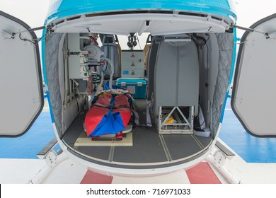 inside of medical helicopter with emergency life support equipment.