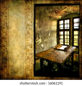 inside medieval castle - window and chess