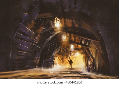 inside of the mine shaft with fog,illustration,digital painting