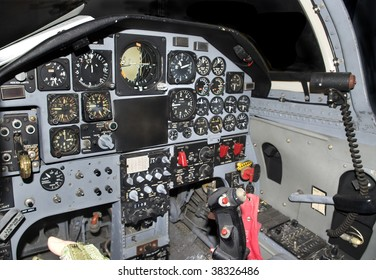Inside of a modern military jetfighter cockpit control panel.