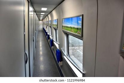 Inside modern sleeping car of bullet D train. China.