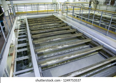 Inside modern wastewater treatment plant. Flotation tank with waste water
