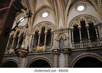 Inside the Montserrat Basilica in Spain.