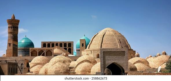 Inside of Mosque Kalon and Kalon minaret, Mir-i Arab Madrasah,  Historic center of Bukhara, Uzbekistan (UNESCO World Heritage)
