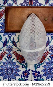 Inside the mosque suspended skullcap