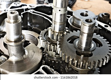 the inside of a motorcycle transmission